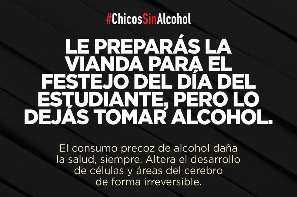 Le preparás la vianda para el festejo del día del estudiante, pero lo dejás tomar alcohol.