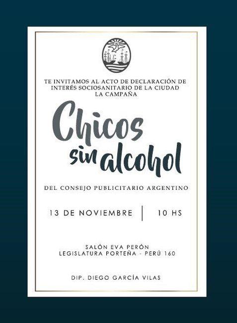 La campaña #ChicosSinAlcohol fue declarada de interés socio sanitario por la Legislatura porteña
